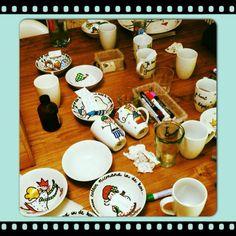 kerst servies: de gasten mogen na het feest hun eigen bordje mee naar huis nemen...