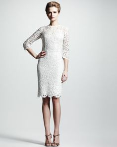 Three-Quarter Lace Dress by Dolce & Gabbana at Neiman Marcus. Cute Dresses, Casual Dresses, Off White Lace Dress, Wedding Dress Accessories, Wedding Dresses, Groom Dress, White Fashion, Spring Fashion, Dress P