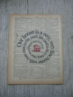 Our House Song Lyric Print via Etsy.