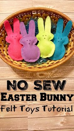 NO SEW Easter Bunny Peeps Felt Toy tutorial. Use for pretend play with toddlers and preschoolers, Easter sensory bins, or stuff with catnip for your kitties and furry babies!