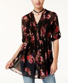 American Rag Juniors' Printed Pintucked Blouse, Created for Macy's - Black