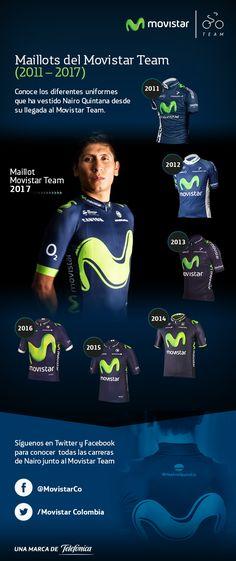 Desde el 2011 nuestro campeón Nairo Quintana ha usado 7 Maillots del Movistar Team ¡Comenta cuál es tu favorita!