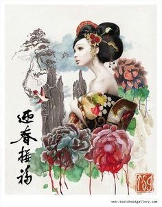 geisha, with Chinese words: welcome the spring and recieve the blessings...:)