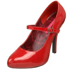 Bordello by Pleaser Women's Mary-Jane Pump - Red Shoes And Other Colors For You Sexy High Heels, High Heel Pumps, Pumps Heels, Red Pumps, Mary Jane Heels, Mary Janes, Shoe Box Size, Red Wedding Shoes, Patent Shoes