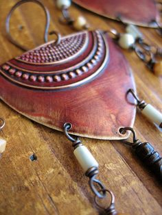 Warrior Shields in Ember Red Earrings