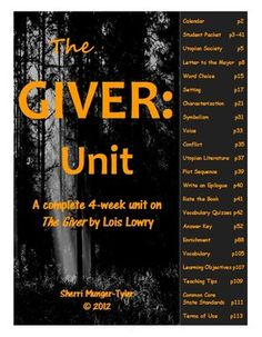 "Everything you need to teach a complete, four-week unit on ""The Giver"" by Lois Lowry! This differentiated unit includes a variety of activities, graphic organizers, and writing assignments that result in close reading and critical thinking. Learning Objectives, Teaching Tips, and Common Core Standards all included. $24"