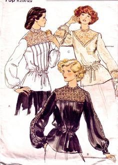 Vintage Vogue Sewing Patterns Misses Overblouse. Victorian Edwardian style blouse VintagePatternCo, £6.50