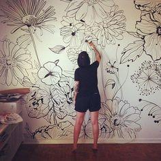 Surge uma nova paixão: @dani_hasse e suas paredes estampadas! 😍😍😍😍 #bujiparede #parede #ilustração #posca #regram