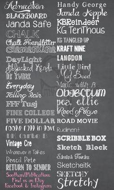 Chalkboard Fonts, Cursive Chalkboard fonts, sketchy fonts sketch fonts. SouthardPublications Find us on Etsy!!