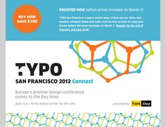 Event promotion email for the Typo Design Conference from FontShop.