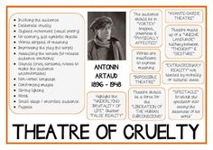 """Antonin Artaud """"THEATRE / THEATER OF CRUELTY"""" poster to use as a handout or as a poster. US and UK spelling both included. This…"""