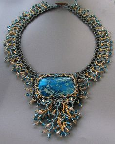 "Coral Reef Beadwork Necklace ""Destination"" -Isabella's vintage Swarovski & Miyuki jewelry"