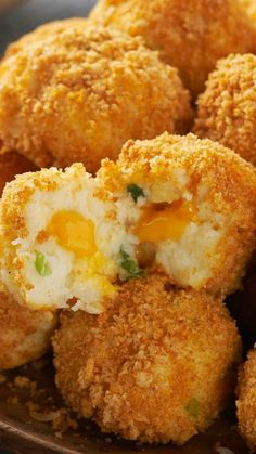 Velveeta Potato Bites ~ Crunchy, popable potato balls with an ooey gooey, cheesy center. Seriously.