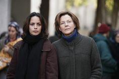 """""""The Search"""" movie still, 2014.  L to R: Bérénice Bejo, Annette Bening."""