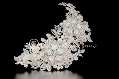 Bohemian Bridal Headpiece Clip of Lace Pearls and Rhinestones from Cassandra Lynne