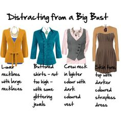 Top Tips to Distract from a Larger Bust (@Bascha Jacques @ruth Torrijos look at the last dress!!! My 50's dress will be great for me then :D who knew?)