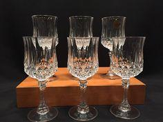 Cristal D'Arques Durand Longchamp Crystal Wine Glasses 6 1/2″ Set of 6 #CristaldArquesDurand
