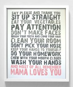 """$13 """"Mama Loves You"""" print. Also seems like a fun idea to make myself! (expires 9/20/12 @ 6am)"""