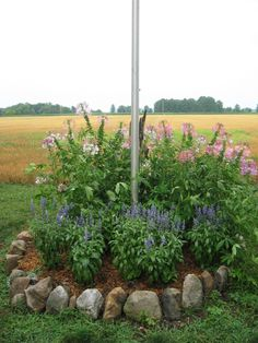 Inexpensive landscaping Ideas on a budget Flag Pole Landscaping, Mulch Landscaping, Small Backyard Landscaping, Landscaping With Rocks, Modern Landscaping, Landscaping Ideas, Mulch Ideas, Landscape Timbers, House Landscape