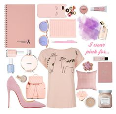 """I wear pink for....."" by modeaddict-334-341 ❤ liked on Polyvore featuring Essie, Kate Spade, Le Specs, Christian Louboutin, Vera Bradley, SNUG, Monica Vinader, Dettagli, L'Oréal Paris and Chanel"