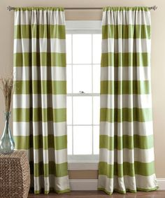 Another great find on #zulily! Green Stripe Blackout Curtain Panel - Set of Two #zulilyfinds
