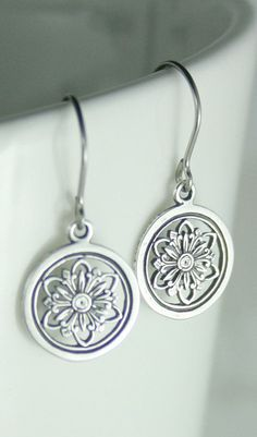 Flower earrings Silver earrings Hypoallergenic