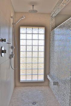 Tiny Bathrooms, Upstairs Bathrooms, Modern Bathroom, Master Bathroom, Glass Block Shower, Glass Blocks Wall, Window In Shower, Glass Brick, Apartment Design