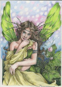 "Coloured with FC polychromos, Staedtler ergosoft and Derwent Coloursoft. From Linda Ravenscroft's Fairy and Fantasy Art Book 3.....""Ivy"""