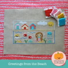 Greetings from the Beach PDF Cross Stitch Pattern / The Frosted Pumpkin Stitchery