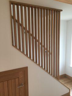 Custom made stair banisters made from oak, in Scandi style / midcentury modern Black Stair Railing, Modern Railing, Staircase Handrail, Oak Stairs, Modern Stairs, Basement Stairs, House Stairs, Home Stairs Design, Balcony Design