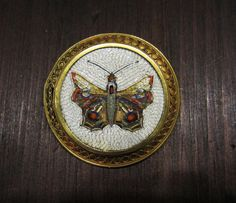 Antique Micro Mosaic, Victorian Butterfly Brooch in 18k c. 1870