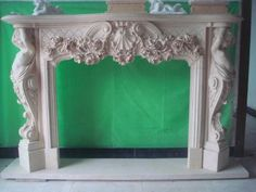 thegatz - Exquisite Hand Carved Marble Fireplace Mantel featuring Large Cherubs in white, $3,200.00 (http://www.thegatz.com/exquisite-hand-carved-marble-fireplace-mantel-featuring-large-cherubs-in-white/) Bedroom Fireplace, Fireplace Remodel, Fireplace Wall, Fireplace Surrounds, Fireplace Mantels, Candles In Fireplace, Cottage Fireplace, Fireplace Bookshelves, Fireplace Garden