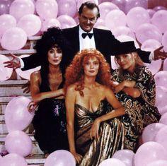 "Jack Nicholson, Cher, Susan Sarandon y Michelle Pfeiffer en ""Las Brujas de Eastwick"", 1987"