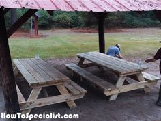 We built 2 8 ft picnic tables for Boy scout Troop Both tables were complete in one day. Pinic Table, Diy Picnic Table, Wooden Picnic Tables, Picnic Table Plans, Diy Table, Kreg Jig, Wood Projects, Woodworking, How To Plan