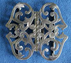 Large Antique English Hallmarked Engraved Sterling Silver Nurses Belt Buckle