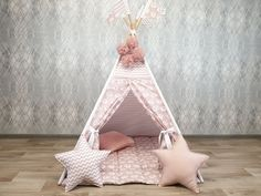 Etsy :: Your place to buy and sell all things handmade Kids Wigwam, Kids Tents, Teepee Kids, Baby Teepee, Teepee Play Tent, Childrens Teepee, Cloud Pillow, Soft Pillows, Play Houses