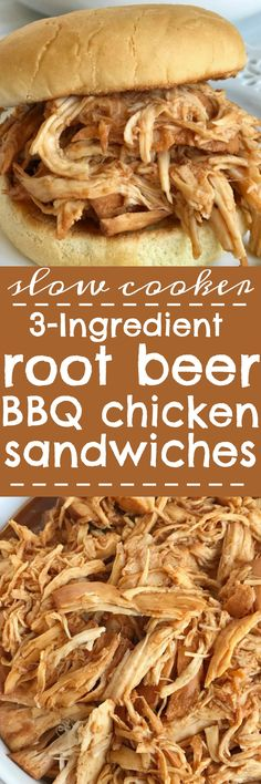 Root beer BBQ chicken sandwiches - This recipe is so incredibly easy to make! 3 ingredients and a slow cooker are all you need for a delicious dinner that is ready when you are. Perfect for a busy weeknight, picnic, potluck, or BBQ. Root beer, chicken breasts, BBQ sauce, and a few spices are all you need | togetherasfamily.com
