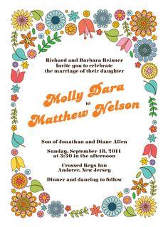 A Very Groovy Wedding Invitation. Hippie PartyInvitation ...
