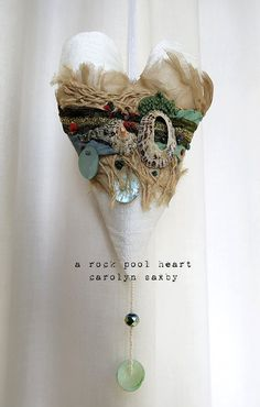 ROCK POOL HEART a textile art seaside by CAROLYNSAXBYTEXTILES
