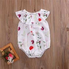 NEWBORN 0-2T TODDLER BABY GIRL OFF SHOULDER FLORAL RUFFLE ROMPER SUN-SUIT OUTFITS CLOTHES #babysunsuit