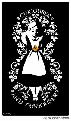 "would be an excellent tea towel... Alice in Wonderland quote: ""Curioser and curioser"" & beautiful black-white, woodcut-inspired illustration."