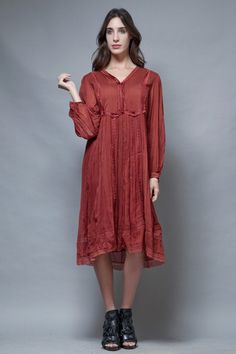 vintage 70s gauzy gauze cotton dress reddish brown India hippie boho M L  :