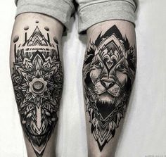 Tiger mandala leg tattoo