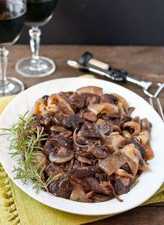 Slow Cooker Rosemary and Mushroom Pot Roast--10 minutes prep for fall apart roast!
