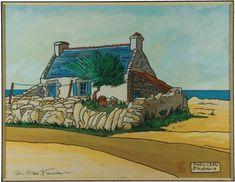 Georges Géo Fourrier Porz-Carn St Guénolé , maison de pêcheur aquarelle gouachée 34x26cm French Houses, Anglesey, Gouache, Brittany, Geo, Cottages, Photos, Inspired, Painting