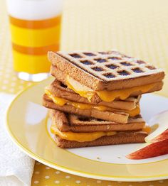 Who needs a pricey panini press when a waffle iron can create the same crispy crunch? Try this with our #wholegrain grilled cheese recipe that kids will love.