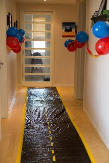 Disney Cars theme birthday - hallway as the road