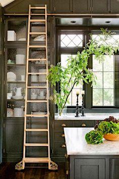 -ladder Black kitchen cabinets dark cabinets
