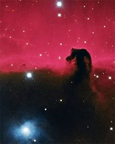 The Horse Head Nebula listed under the designation B33, is a large cloud of cold gas and dust, which is 1300 light years away from Earth, south of the extreme left of Orion's Belt, specifically the bright star shown in the photo, below left, is Alnitak. It measures approximately 3.5 light years wide.  This nebula is visible by contrast, already is ahead of the emission nebula IC434. Its shape is the most popular of the absorption nebulae.