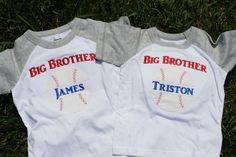 Matching Baseball Big Brother Shirts $20 each. To order email us at lovesewnin2@gmail.com or check out our FB page https://www.facebook.com/LoveSewnIn2
